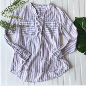 Striped cream and white top tie front